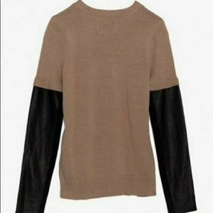 Aiko Tops - AIKO sabine leather sleeve, cotton/cashmere blend